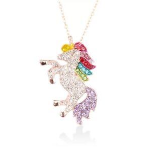 Rhinestone Rainbow Unicorn Necklace Girls Women Fashion Jewelry Rose gold