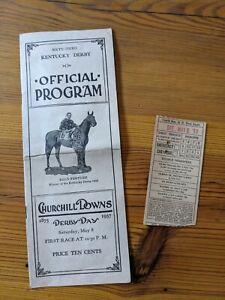 1937 Kentucky Derby Program WAR ADMIRAL Win w/Louisville Streetcar Ticket Stub