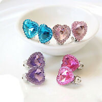 FT- Heart Crystal Kids Fashion Ear Clip Jewelry Girls No Pierce Earring Gift Fas