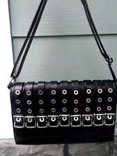 Ellington black leather grommet and buckle stunning shoulder bag NICE!