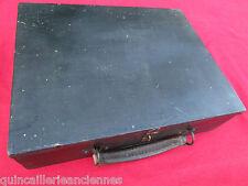 Coffret malette valise bois peint noir poignée cuir ancienne 30,6 x 24 x 8 cm