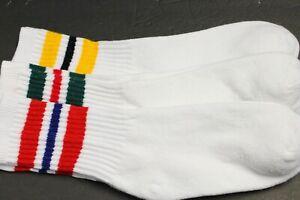 3 Pair's Men's/Women's 9-11 Long Crew Socks,Cotton Athletic Socks White Red Gree