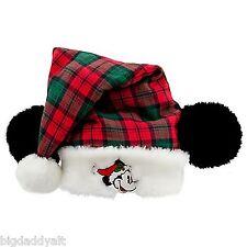 NEW DISNEY WORLD PARKS MICKEY MOUSE EARS CHRISTMAS SANTA HAT ADULT PLAID