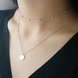 925 Sterling Silver Plated Double Layer Disc Pendant Necklace/Choker Ball Beads