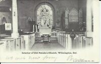 1906 Interior Old Swedes Church Wilmington Delaware Undivided Postcard