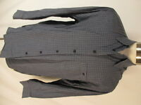 Zanella Mens Blue Check Long Sleeve Cotton Shirt L Italy Made