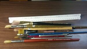 WATERCOLOR & ACRYLIC ARTIST Art Paint Brushes Richeson Windsor Newton LOT of 10