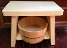 Japan: Real Fragrant Hiba Bath Isu Stool & Hinoki Oke Basin Set: FINEST QUALITY!
