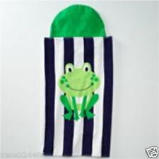 Jumping Beans Frog Hooded Bath Wrap Striped Beach Towel Cotton 30x50 Nwt $30