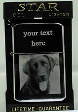PERSONALISED LABRADOR DOG PHOTO / TEXT ENGRAVED LIGHTER GIFT UK