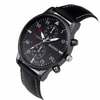Elegante Reloj de Pulsera Clásico Correa de Cuero Negro para los Hombres Nuevo*