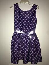 Girls H&M Purple Polka Dot Sleeveless Party Dress (Size 6-7)