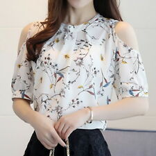 Women Chiffon Floral Tops Short Sleeve Off Shoulder T-Shirt Blouse Shirt Tee