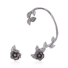 Oxidized Flower Stud Ear Cuff Pave Diamond 925 Sterling Silver Handmade Jewelry