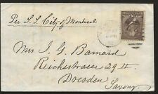 1882 NYC Cover to Mrs General John G Barnard in Dresden Germany, Via SS Cty Mont