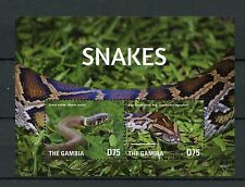 Gambia 2015 MNH Snakes 2v S/S II Reptiles Grass Snake Boa Constrictor