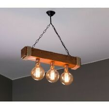 Rustic Beam Chandelier Handmade Solid Aged Wood Retro Ceiling Pendant Light