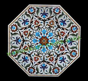 "54"" Marble Inlay Royal Dinning Table Top Pietra Dura Art Conference Table"