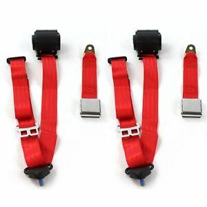 Camaro 1970 - 1981 Airplane 3pt Red Retractable Bucket Seat Belt Kit - 2 Belts
