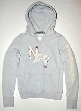 Abercrombie & Fitch Women's Juniors NY Gray Pullover Hoodie XL Fits Like Small