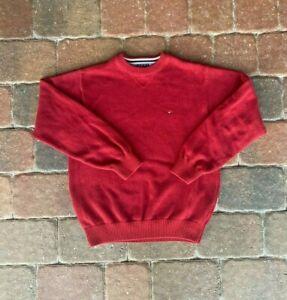 Tommy Hilfiger Sweatshirt Mens Medium Red Classic Pocket Logo Casual Comfort
