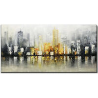 100%Hand Painted Abstract cityscape 3D Oil painting on canvas unframed 24x48inch
