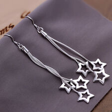Wholesale 925Sterling Silver Elegant Three Stars Women Dangle Earrings EW161