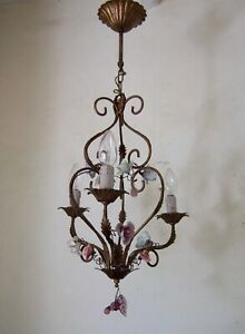 ANTIQUE VINTAGE FRENCH gilt iron with ceramic roses 3 branch chandelier