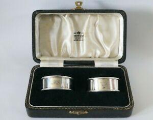 Cased Set of Sterling Silver Napkin Rings - Adie Bros Ltd - 23.6g