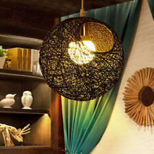 20cm Rattan Wicker Lamp Light Shade Ceiling Hanging Lamp with Hole -Black