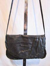 Steve Madden Black Faux Lizard Leather Ruffle Convertible Clutch Shoulder Purse