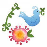 Bird Flower and Vine Sizzix Sizzlits Die Set 657997 NEW!