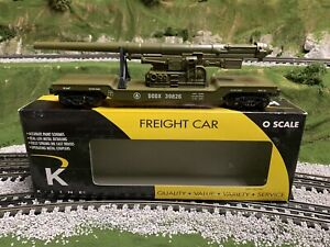 ✅K-LINE BY LIONEL US ARMY CANNON FLAT CAR! O GAUGE UNITED STATES MILITARY