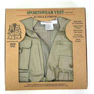 Field & Stream Sportswear Utility Vest Khaki Beige Multi Pockets Cotton sz XXL