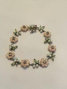 "Ross Simons Green Peridot pearls 925 Sterling Silver Flower Link Bracelet 7.5"""