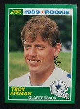 1989 Score #270 Troy Aikman & #257 Barry Sanders RC Rookie (3 Cards in lot)