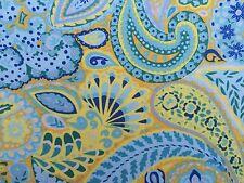 By 1/2 Yard Free Spirit Little Azalea Camellia ~ Dena Blue Yellow Paisley Fabric