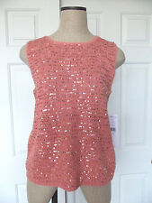 Josephine Chaus Coral Reef Light Coral Pink Scoop Neck Sequin Shell Sweater - L