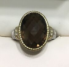 JUDITH RIPKA SS/18KYG  DIAMOND AND SMOKY QUARTZ COCKTAIL RING SIZE 7