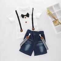 Baby Kids Boy Wedding Tuxedo Party Top+Jean Overalls Outfit Suit Clothes Set 1-8