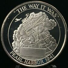 """1941 PEARL HARBOR """"THE WAY IT WAS"""" 50TH ANNIVERSARY WW2 1 OZT .999 SILVER ROUND"""