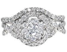 1c88555bce74 10 Quilates Oro Blanco para Mujer Diamante Redondo Halo Anillo Compromiso  Boda