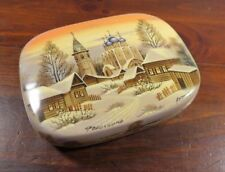 Russian Lacquer Box Fedoskino Petrov Signed Unusual Light Background Church MOP