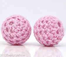 20 Pink Woven Round Beads Acrylic Covered Wool Jewelry 16mm