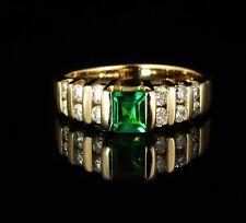 VINTAGE SIGNED ESTATE NATURAL 1.10ctw COLOMBIAN EMERALD & DIAMOND 14K GOLD RING