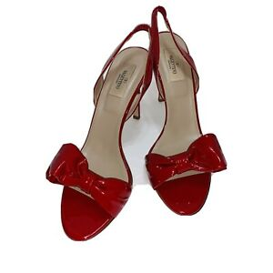 Valentino  Bow Red Patent Leather Heels  Shoes Size 41, Next To New Condition !