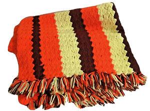 Hand crocheted afghan lap throw orange brown stripes 43 x 56 retro 60s 70s warm