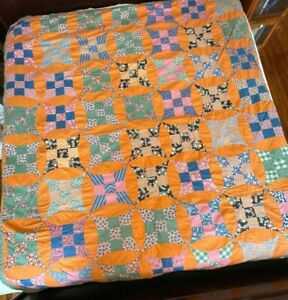 Vintage 76x87 Handmade Patch Work Quilt Heavy Filled Square/ Circles Orange Gree