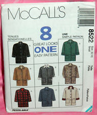 Uncut McCalls Misses S 8-10 Easy Front Button Jacket Pattern 8522, 8 Great Looks