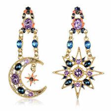 Women Elegant Crystal Drop Moon Sun&Star Starry Pendant Stud Earrings Jewelry